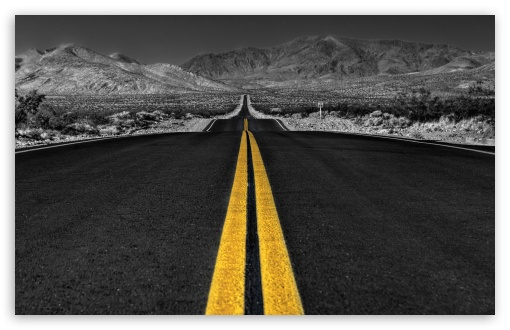 long_desert_road_black_and_white-t2